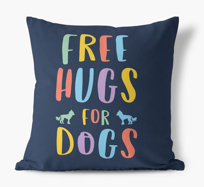 'Free Hugs For Dogs' Canvas Cushion with Hairless Chinese Crested Silhouettes