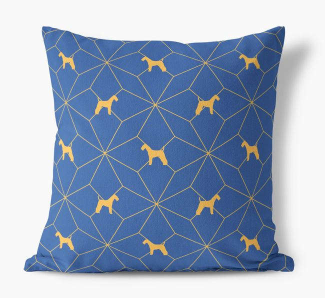 Geometric Pattern Canvas Cushion with Airedale Terrier Silhouettes