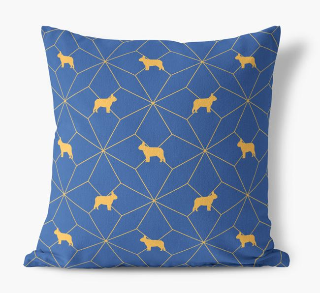 Geometric Pattern Canvas Cushion with French Bulldog Silhouettes
