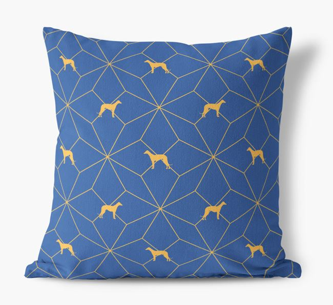 Geometric Pattern Canvas Cushion with Greyhound Silhouettes
