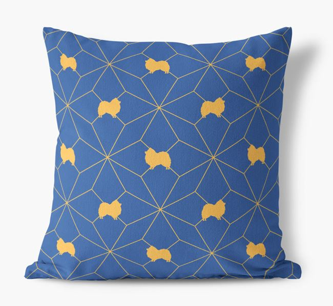 Geometric Pattern Canvas Cushion with Pomeranian Silhouettes