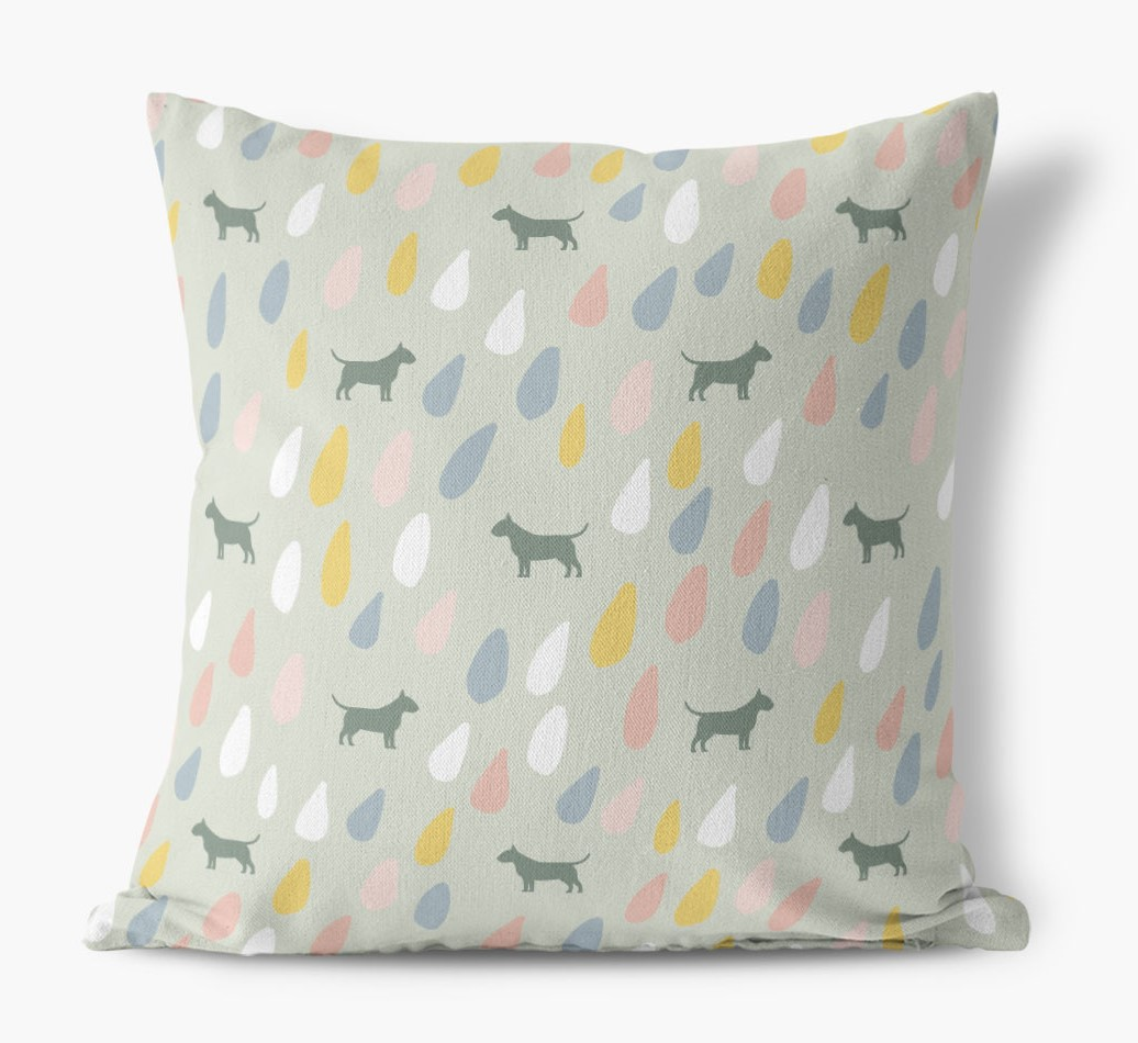 Droplets Pattern Canvas Pillow with Bull Terrier Silhouettes