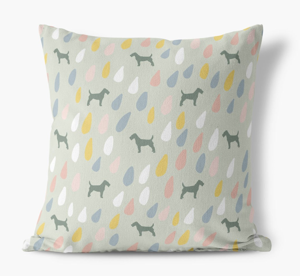 Droplets Pattern Canvas Pillow with Fox Terrier Silhouettes