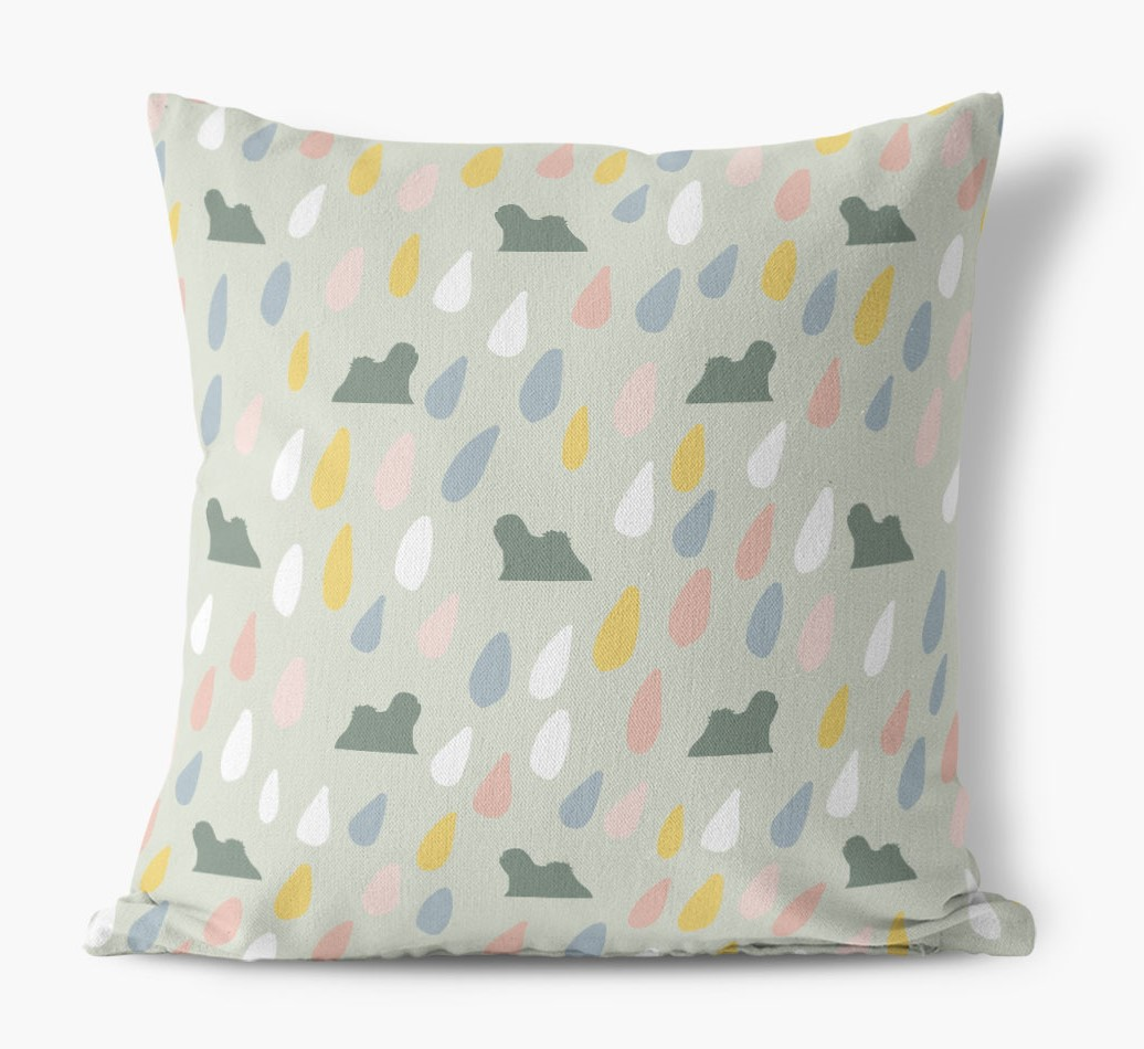 Droplets Pattern Canvas Pillow with Lhasa Apso Silhouettes