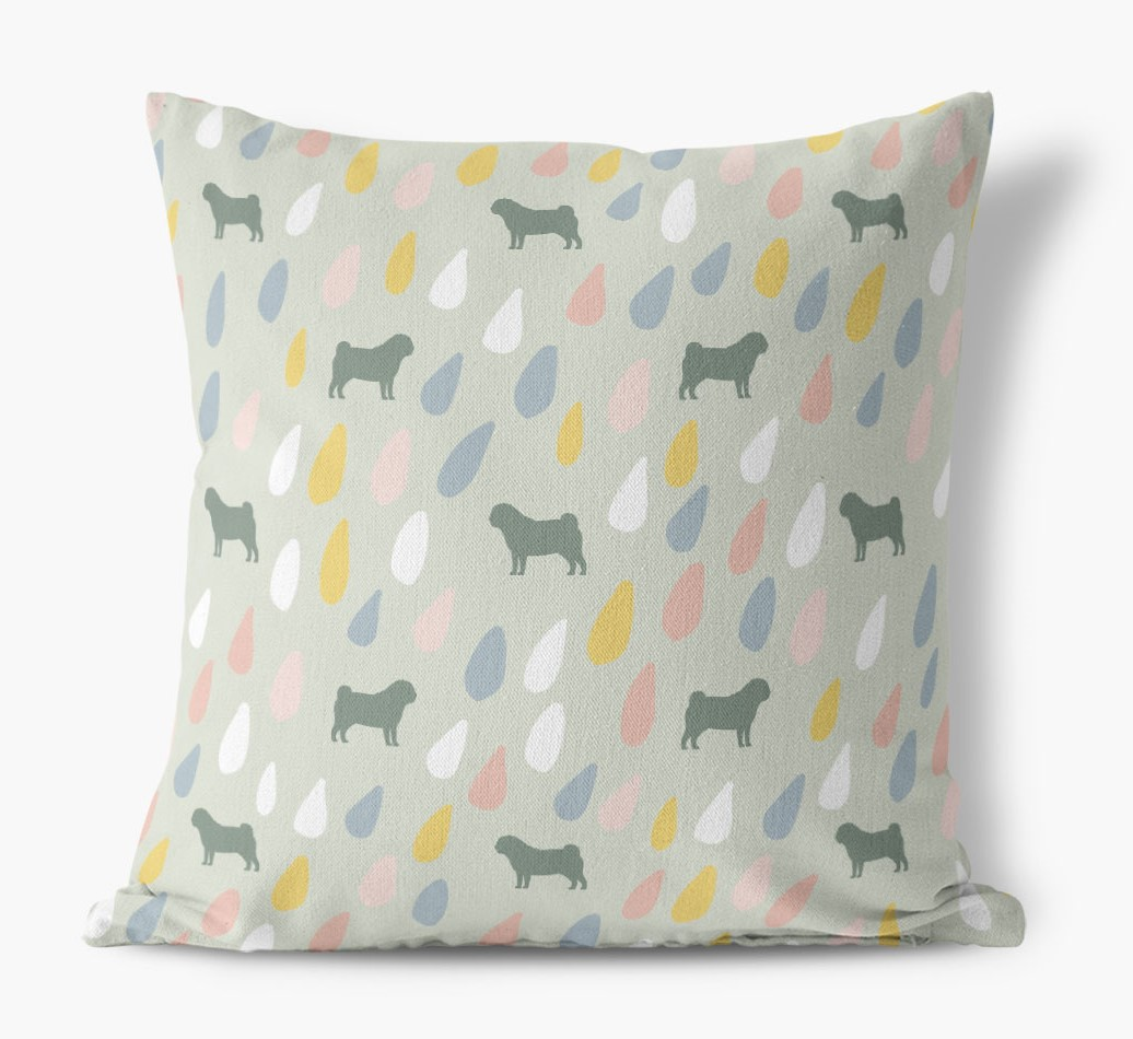 Droplets Pattern Canvas Pillow with Pug Silhouettes