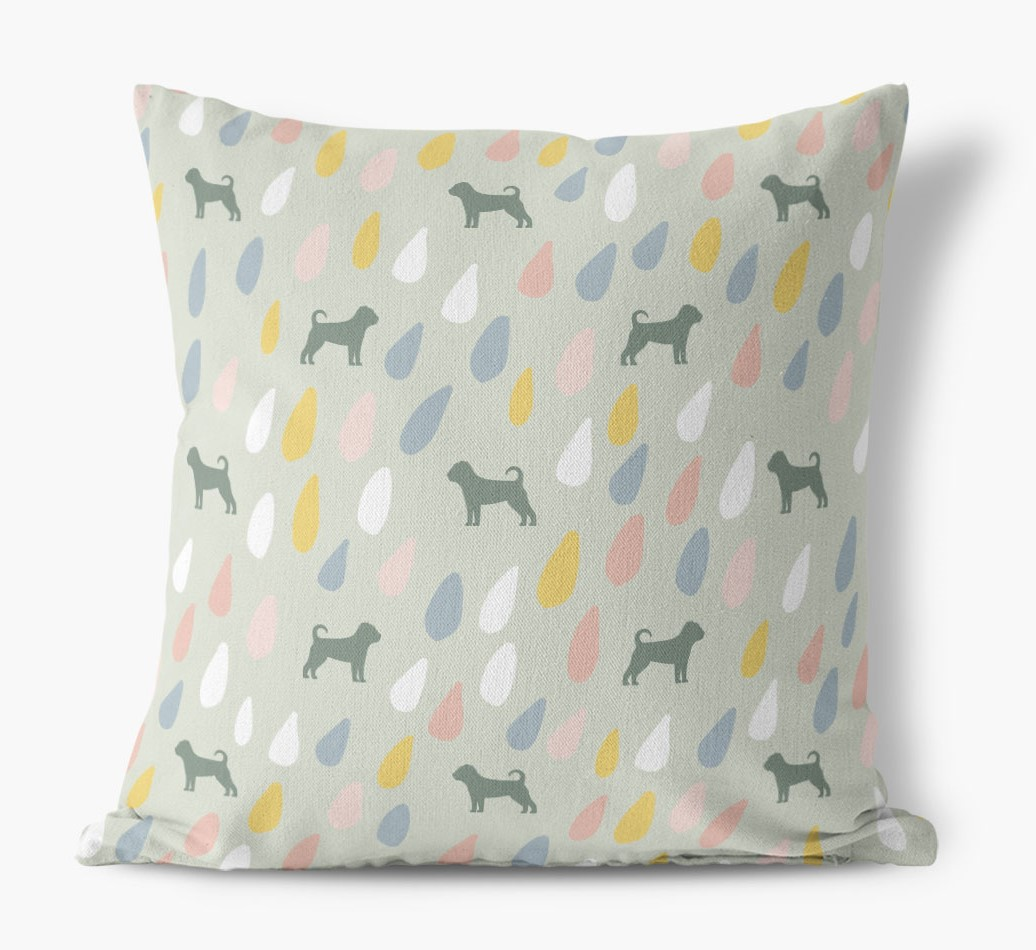 Droplets Pattern Canvas Pillow with Puggle Silhouettes