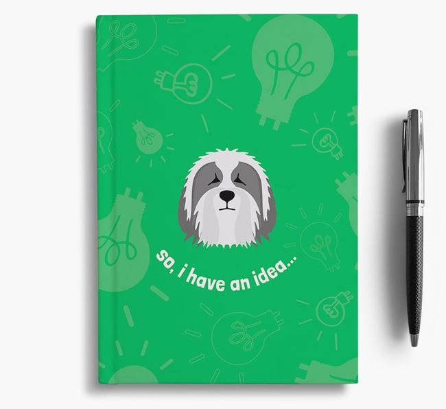 'So, I Have An Idea...' Notebook with Bearded Collie Icon