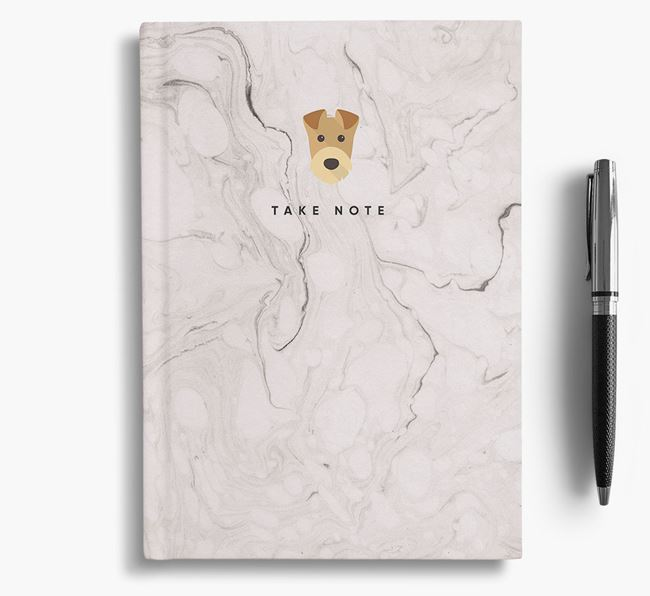 'Take Note' Marble Notebook with Airedale Terrier Icon