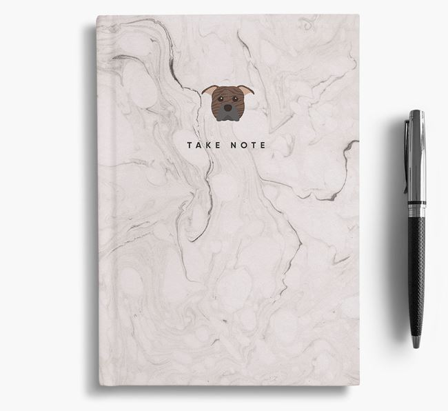'Take Note' Marble Notebook with American Pit Bull Terrier Icon
