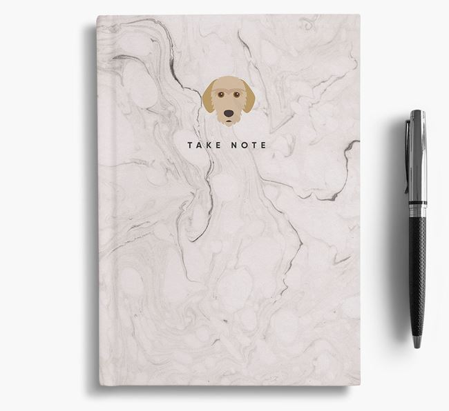 'Take Note' Marble Notebook with Basset Fauve De Bretagne Icon