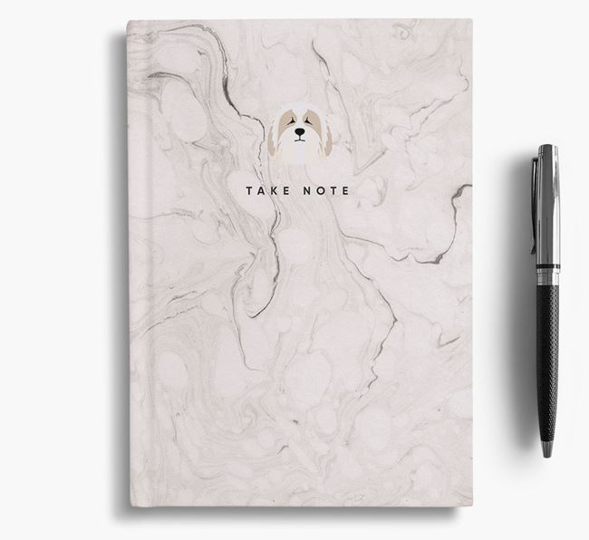 'Take Note' Marble Notebook with Bearded Collie Icon