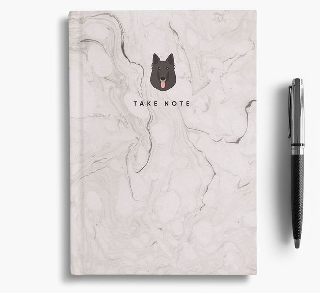 'Take Note' Marble Notebook with Belgian Groenendael Icon