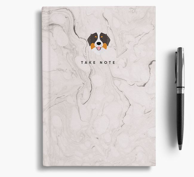 'Take Note' Marble Notebook with Bernese Mountain Dog Icon