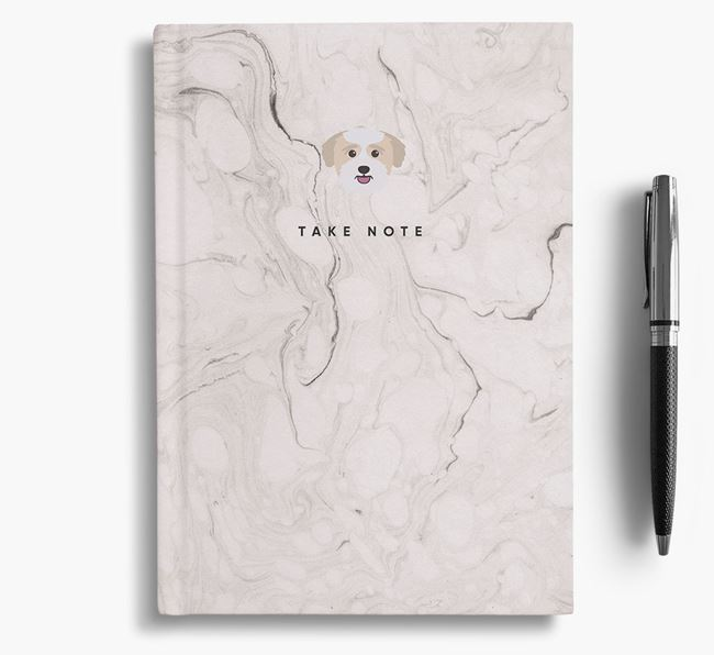 'Take Note' Marble Notebook with Bichon Yorkie Icon