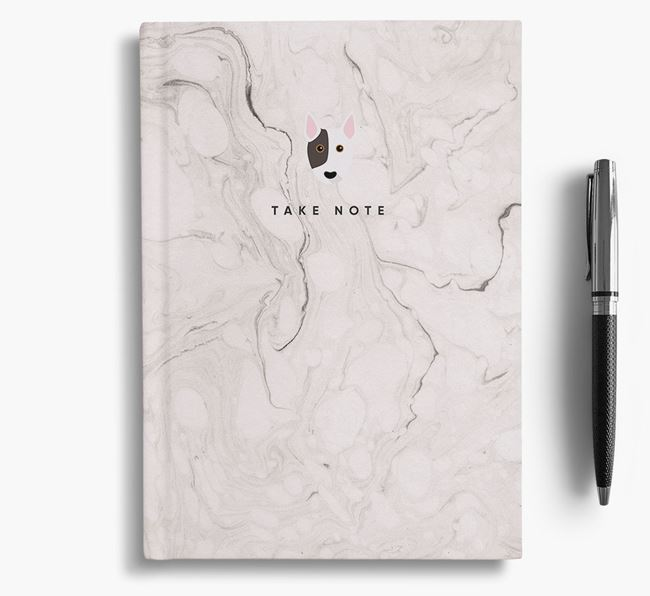 'Take Note' Marble Notebook with Bull Terrier Icon