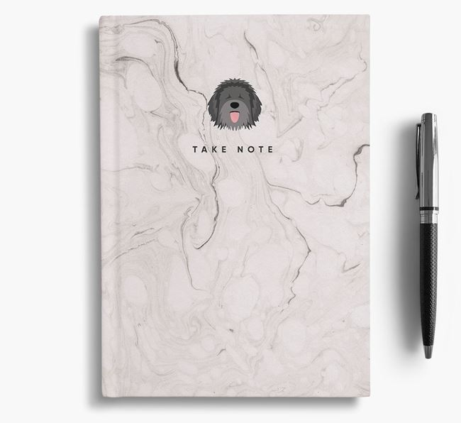 'Take Note' Marble Notebook with Catalan Sheepdog Icon