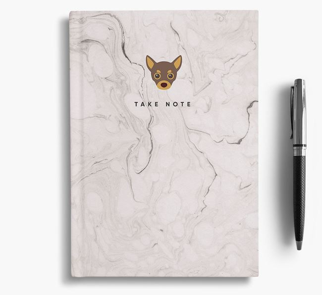 'Take Note' Marble Notebook with Chihuahua Icon