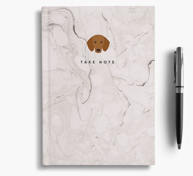 'Take Note' Marble Notebook with Dachshund Icon