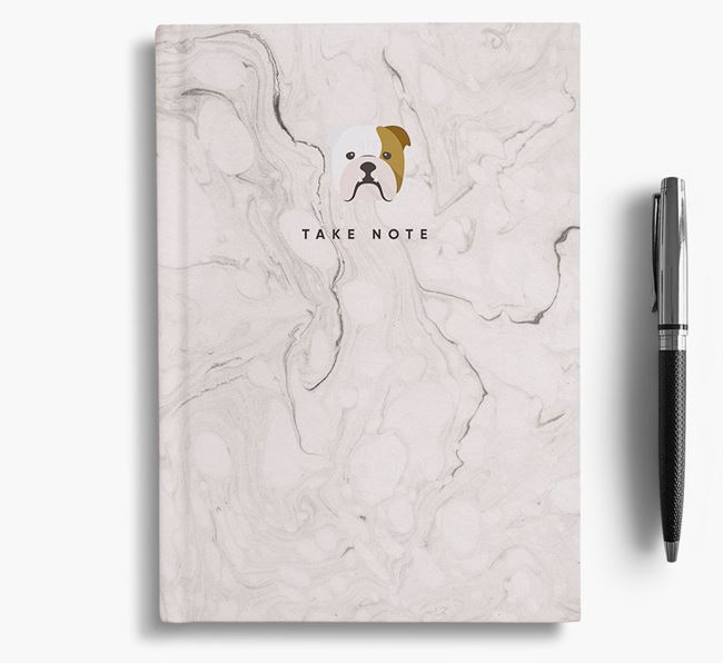 'Take Note' Marble Notebook with English Bulldog Icon