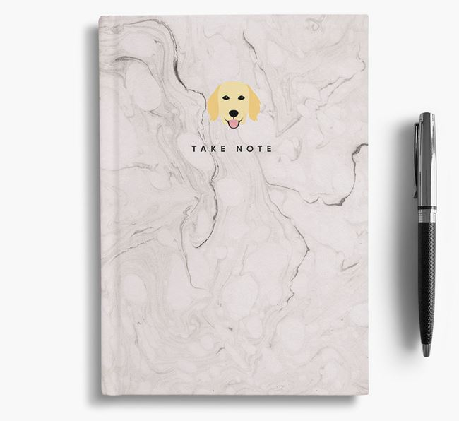 'Take Note' Marble Notebook with Flat-Coated Retriever Icon