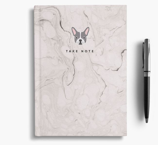 'Take Note' Marble Notebook with French Bulldog Icon