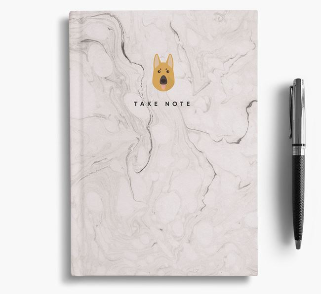 'Take Note' Marble Notebook with German Shepherd Icon