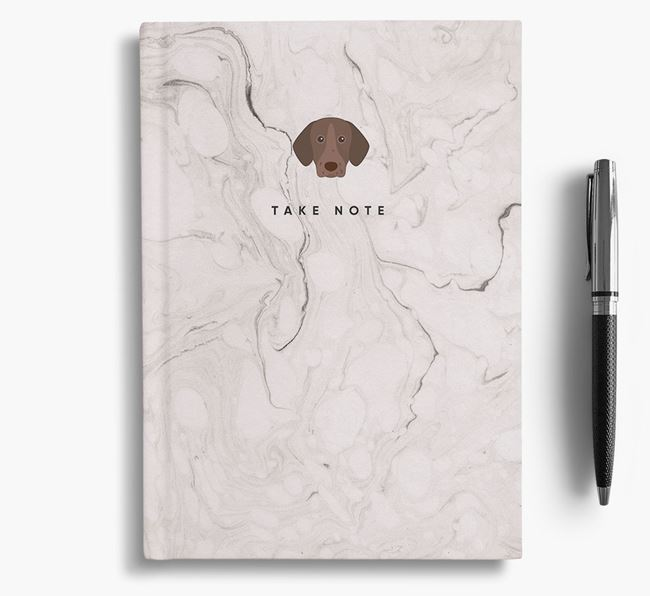'Take Note' Marble Notebook with German Shorthaired Pointer Icon