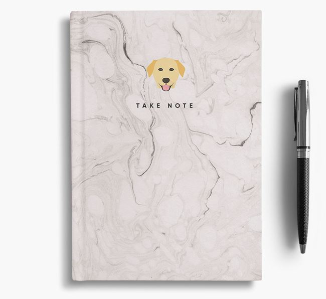 'Take Note' Marble Notebook with Golden Labrador Icon