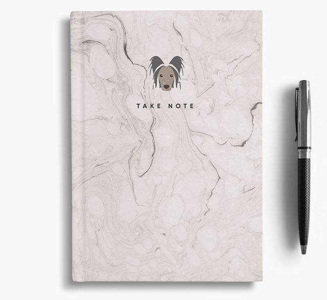 'Take Note' Marble Notebook with Hairless Chinese Crested Icon