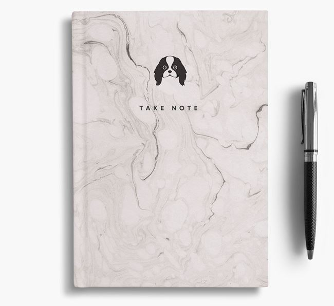 'Take Note' Marble Notebook with Japanese Chin Icon