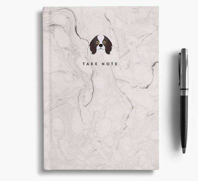 'Take Note' Marble Notebook with King Charles Spaniel Icon