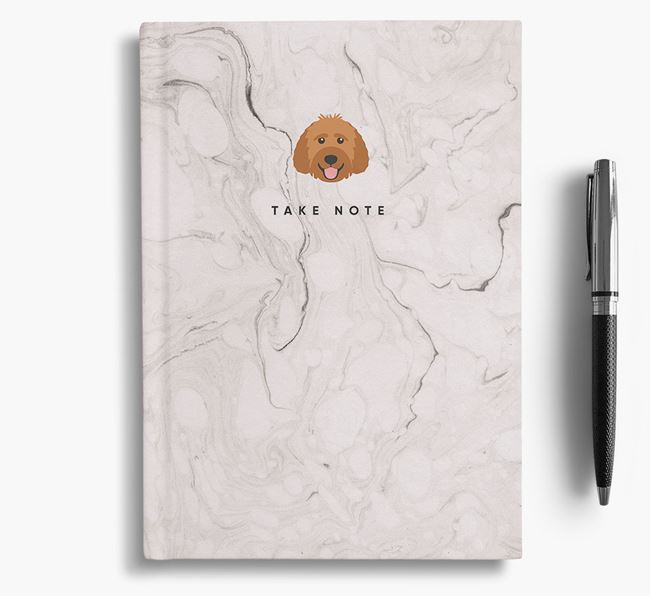 'Take Note' Marble Notebook with Labradoodle Icon
