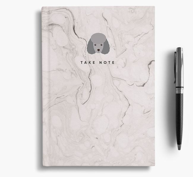 'Take Note' Marble Notebook with Miniature Poodle Icon