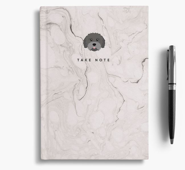 'Take Note' Marble Notebook with Mixed Breed Icon