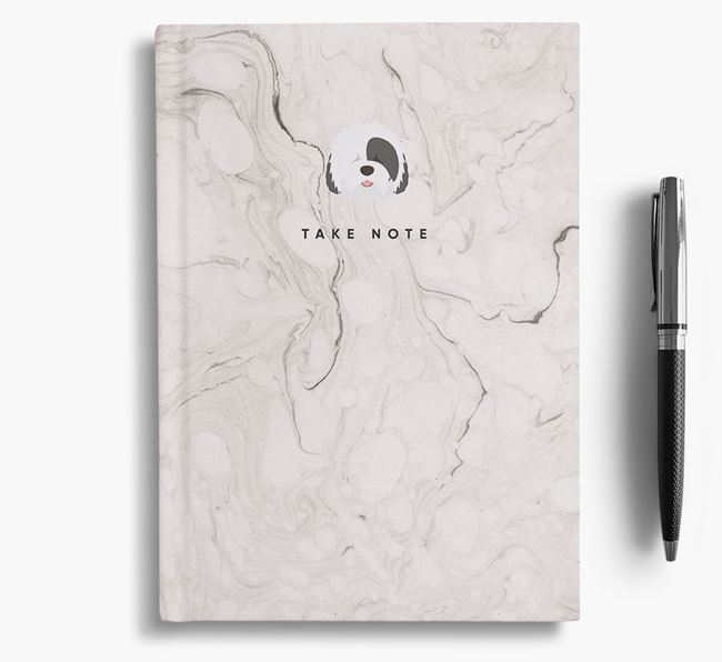'Take Note' Marble Notebook with Old English Sheepdog Icon