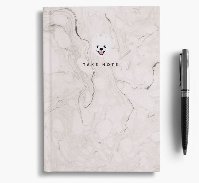 'Take Note' Marble Notebook with Pomeranian Icon