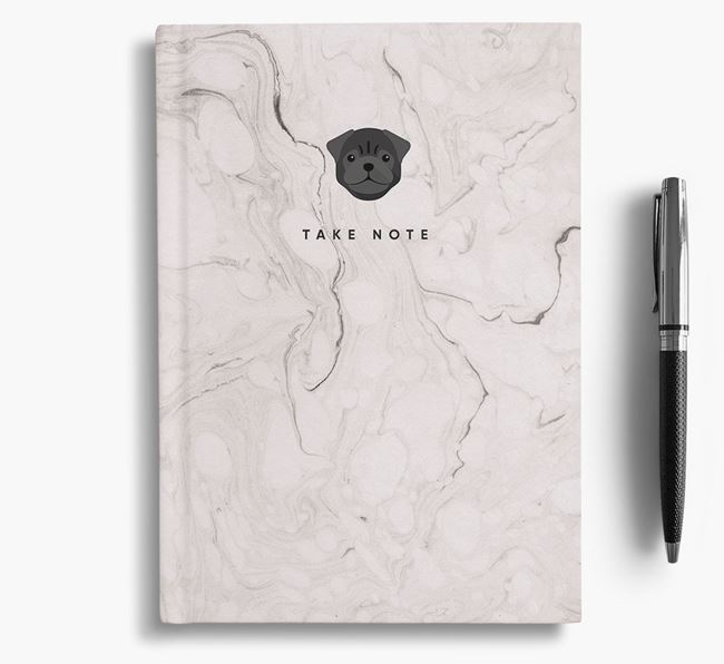 'Take Note' Marble Notebook with Pug Icon