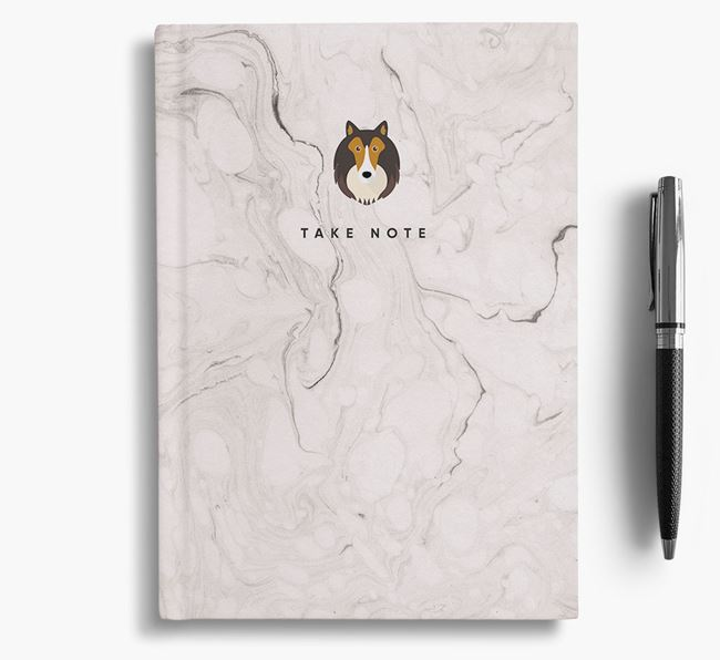 'Take Note' Marble Notebook with Shetland Sheepdog Icon
