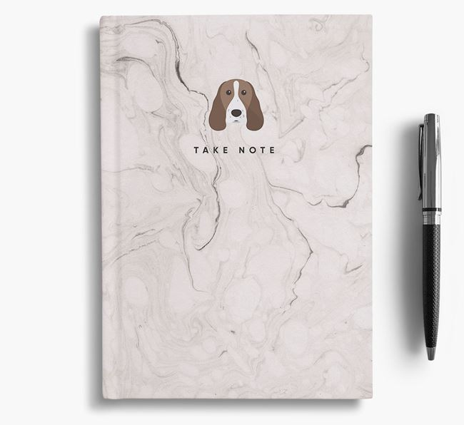 'Take Note' Marble Notebook with Welsh Springer Spaniel Icon