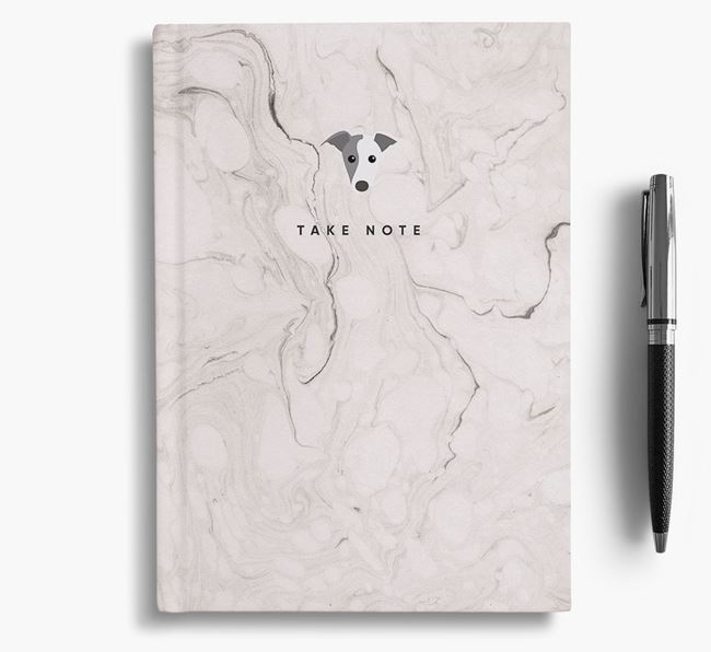 'Take Note' Marble Notebook with Whippet Icon