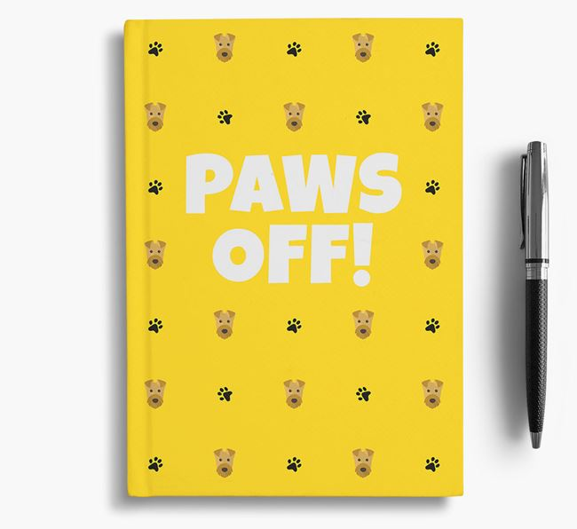 'Paws Off!' Notebook with Airedale Terrier Icon Pattern