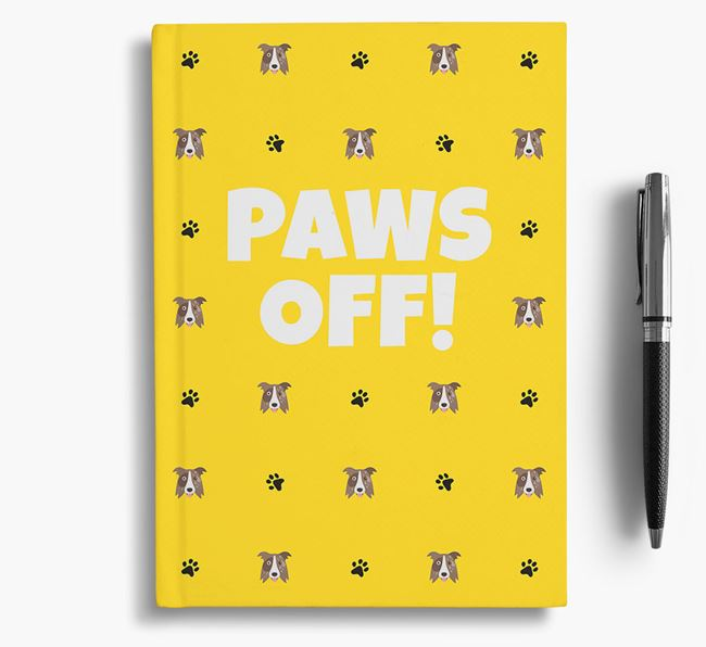 'Paws Off!' Notebook with Border Collie Icon Pattern