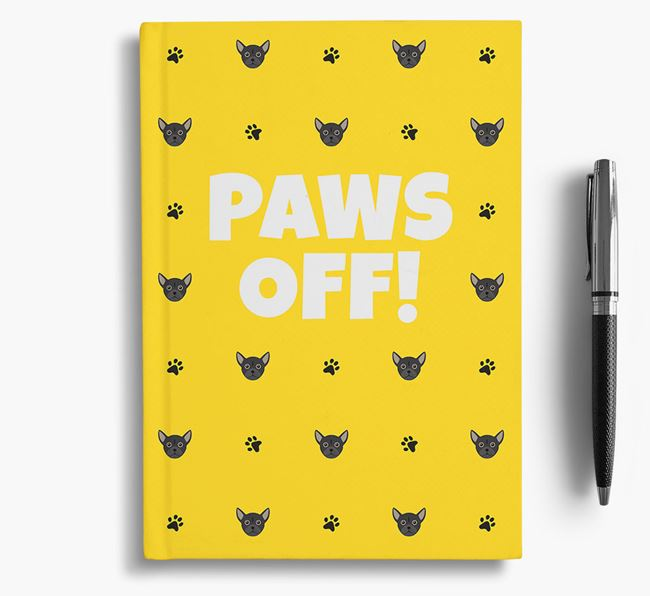 'Paws Off!' Notebook with Chug Icon Pattern