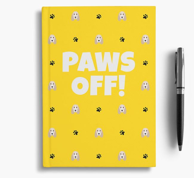 'Paws Off!' Notebook with Grand Basset Griffon Vendeen Icon Pattern