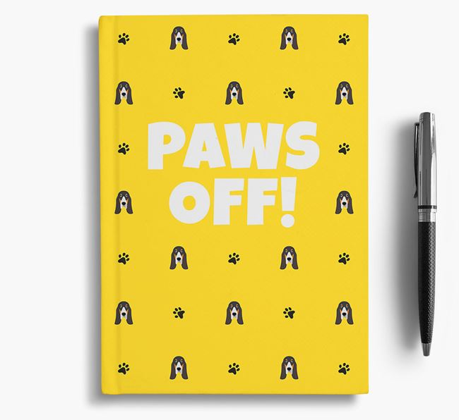 'Paws Off!' Notebook with Grand Bleu De Gascogne Icon Pattern