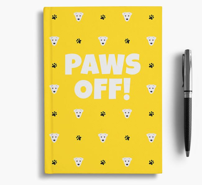 'Paws Off!' Notebook with Jack-A-Poo Icon Pattern