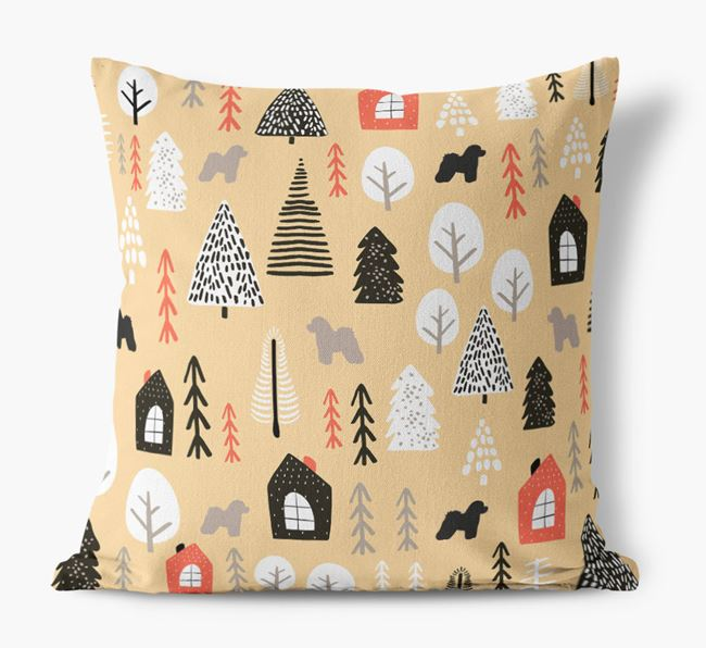 Tree Pattern Canvas Cushion with Bichon Frise Silhouettes