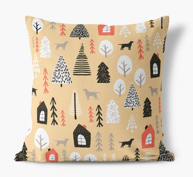 Tree Pattern Canvas Pillow with Borador Silhouettes