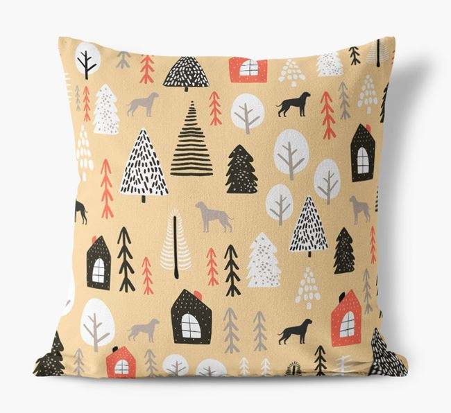 Tree Pattern Canvas Cushion with Dog Silhouettes