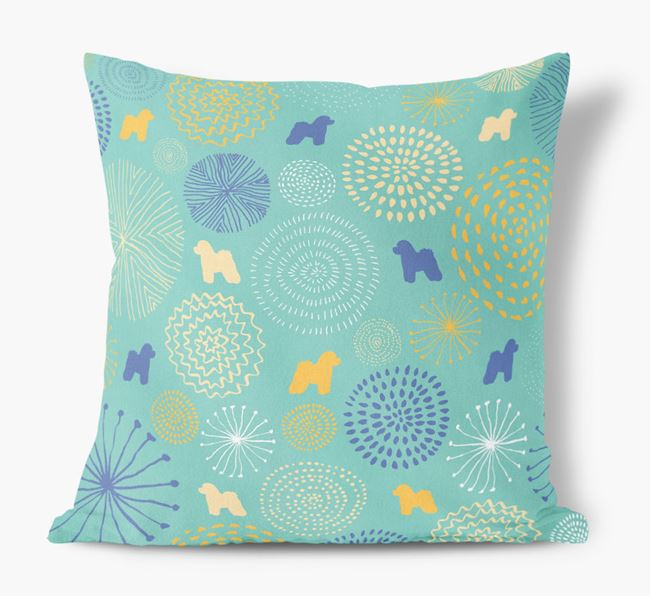 Circles Pattern Soft Touch Cushion with Bichon Frise Silhouettes